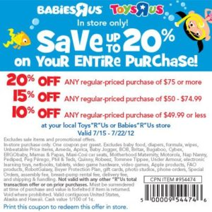 Toys r us coupon 20