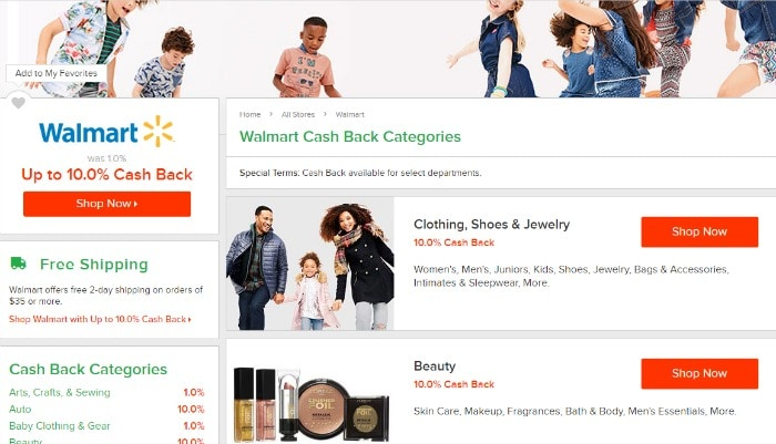 using ebates at walmart