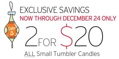 Yankee Candle: 2 Small Tumblers for $20 Coupon!