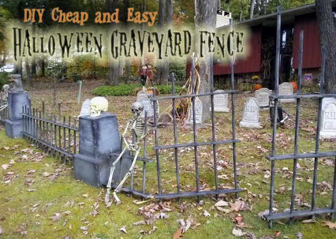 diy halloween graveyard spooky cheap easy saving. Black Bedroom Furniture Sets. Home Design Ideas