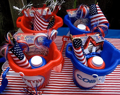 4th of July kids' party buckets