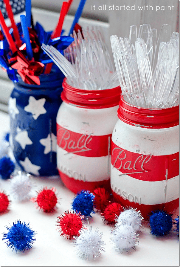 red, white, and blue painted mason jars