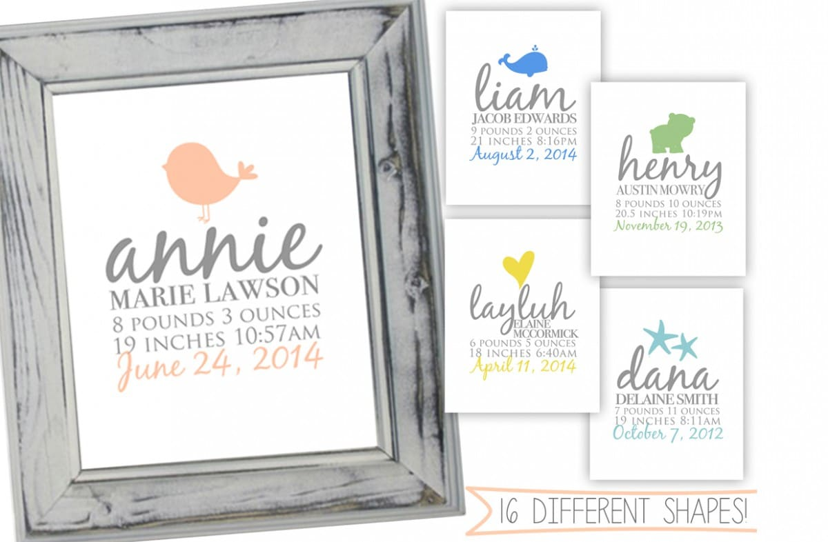 Baby Announcement Print for 1199 – Baby Name Announcement