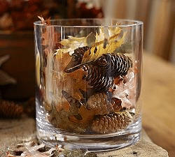 fall mantel decor - leaves and pinecones vase