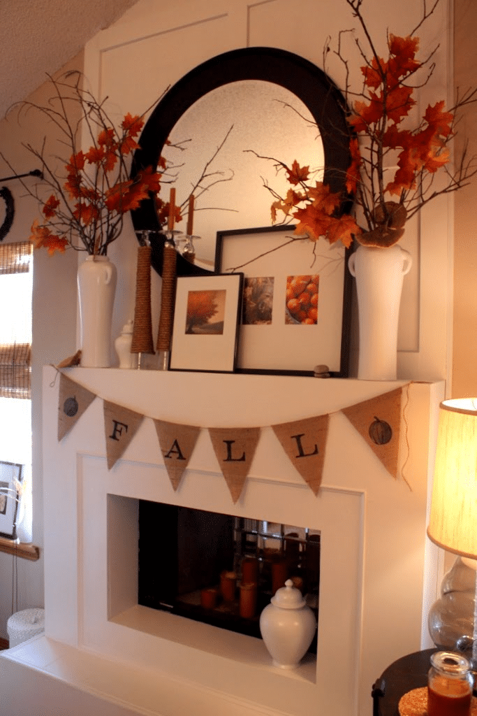 modern fall mantel decor