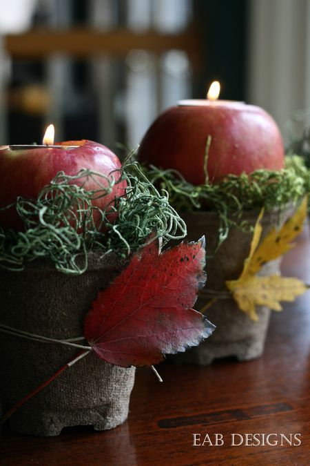 fall mantel decor - apple votives