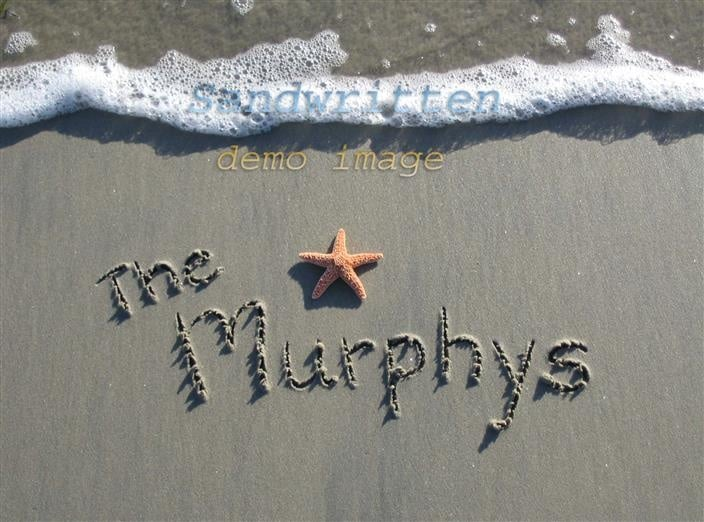 name in the sand beach photo