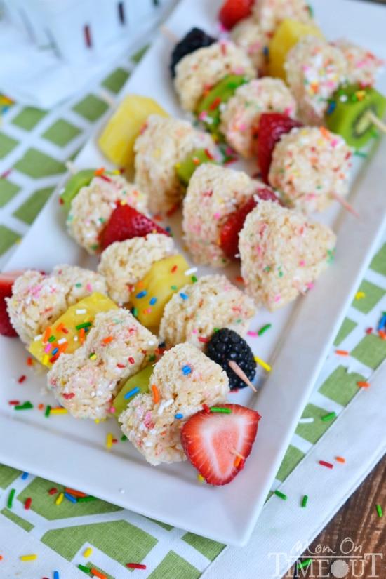 after school snacks - rice krispie treat fruit kabobs