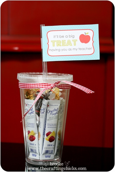 teacher gift - treat filled cup with printable