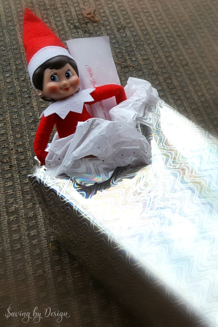 Elf on the Shelf Ideas for Return - Elf escapes from package