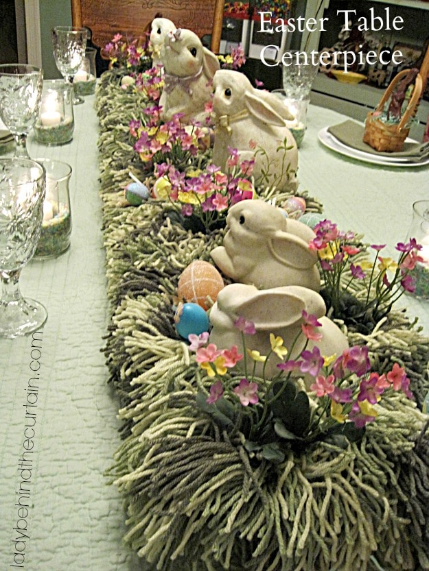 bunnies in the grass easter tablescape