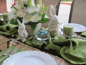 spring bunnies and eggs table