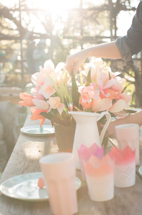 spring pastel ombre table