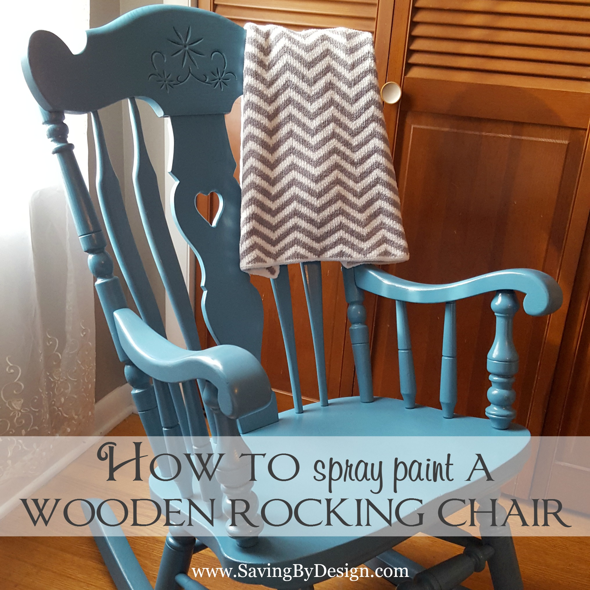 how to spray paint a wooden rocking chair it 39 s less than 10. Black Bedroom Furniture Sets. Home Design Ideas