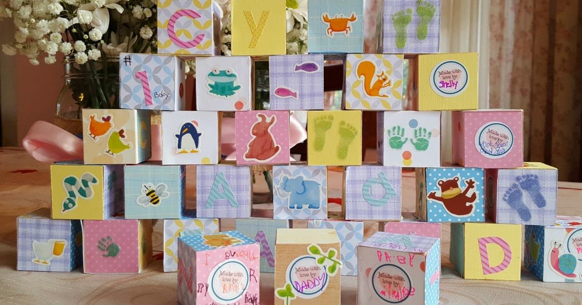 Baby Shower Craft - Wooden Baby Blocks - 1200x628