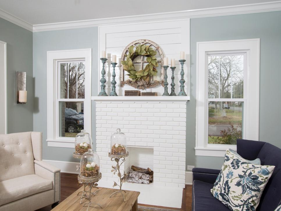 bright white fireplace mantel