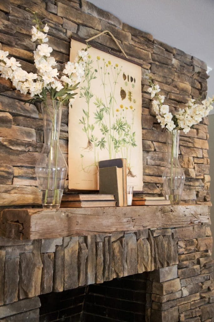 rustic stone fireplace mantel
