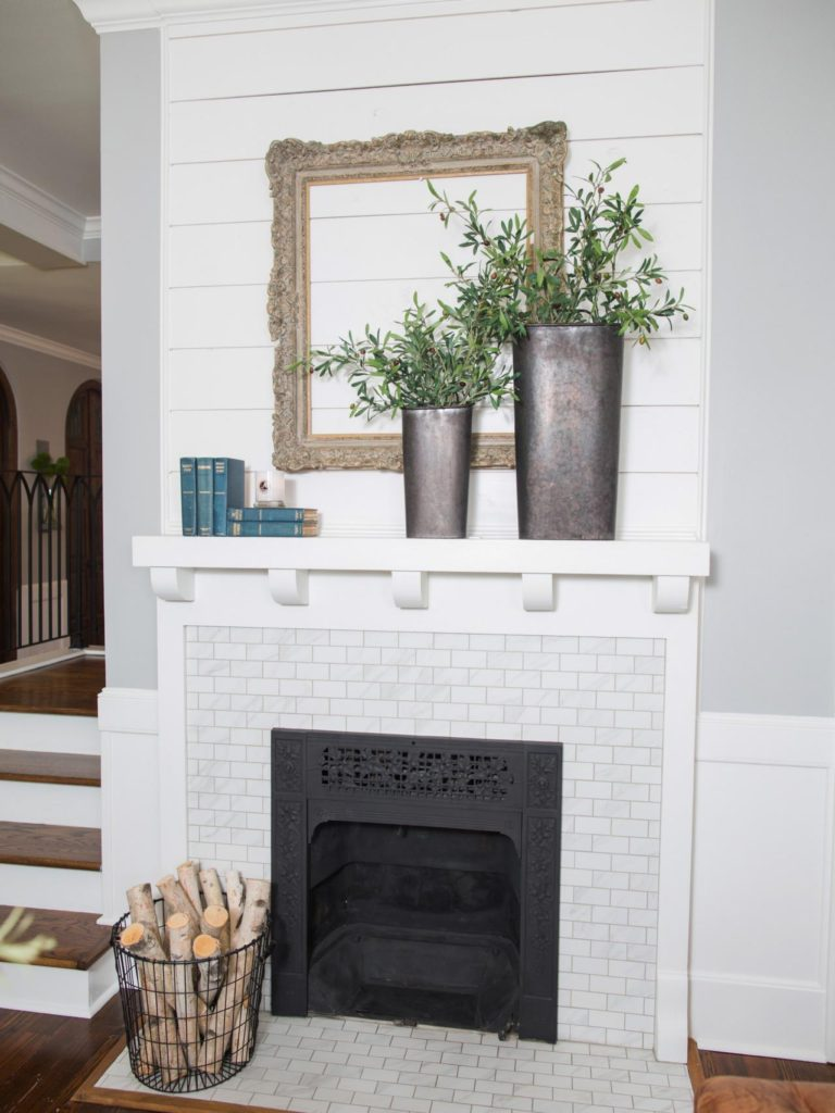 white shiplap fireplace mantel