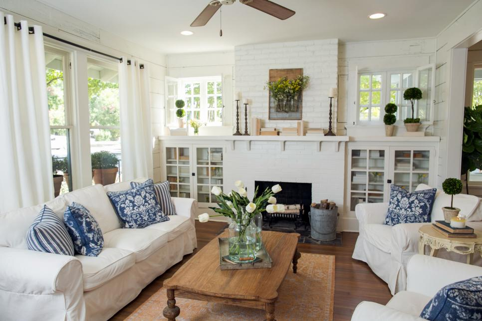 White Brick Fireplace Mantel