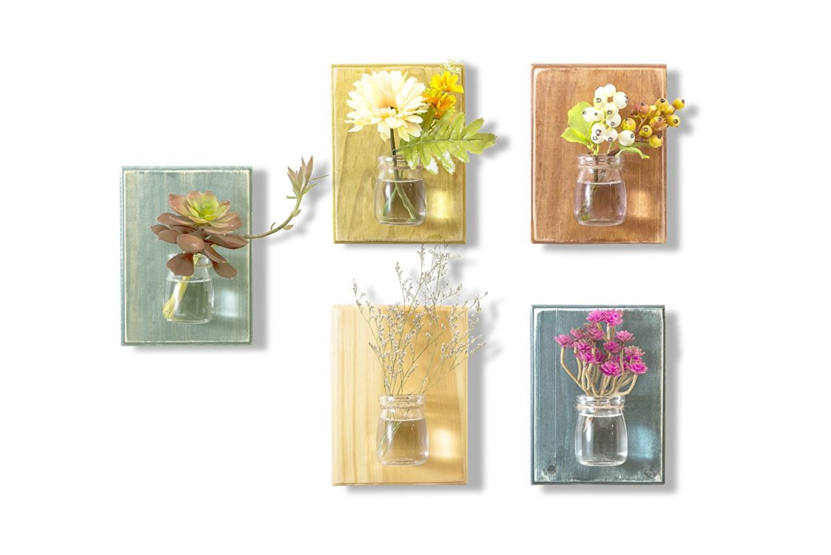 wooden wall vases