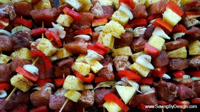 pineapple teriyaki pork kabobs before grilling