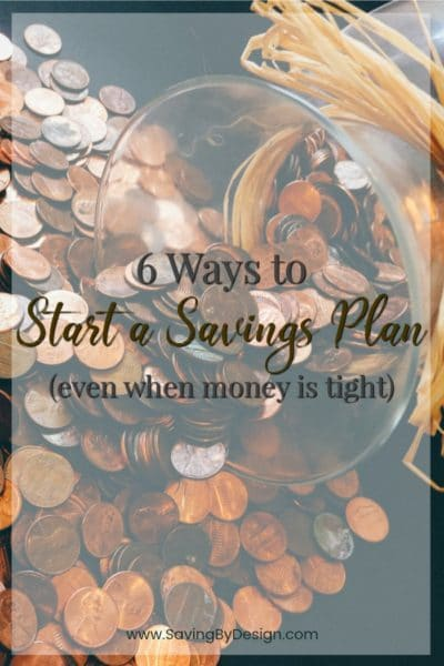 When money is tight, thinking about saving money can be stressful. Don't give up! There are still quite a few ways that you can start a savings plan.