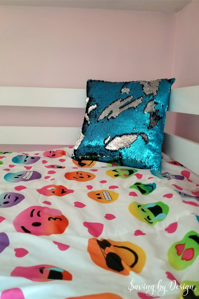 emoji bedding and mermaid sequin pillow