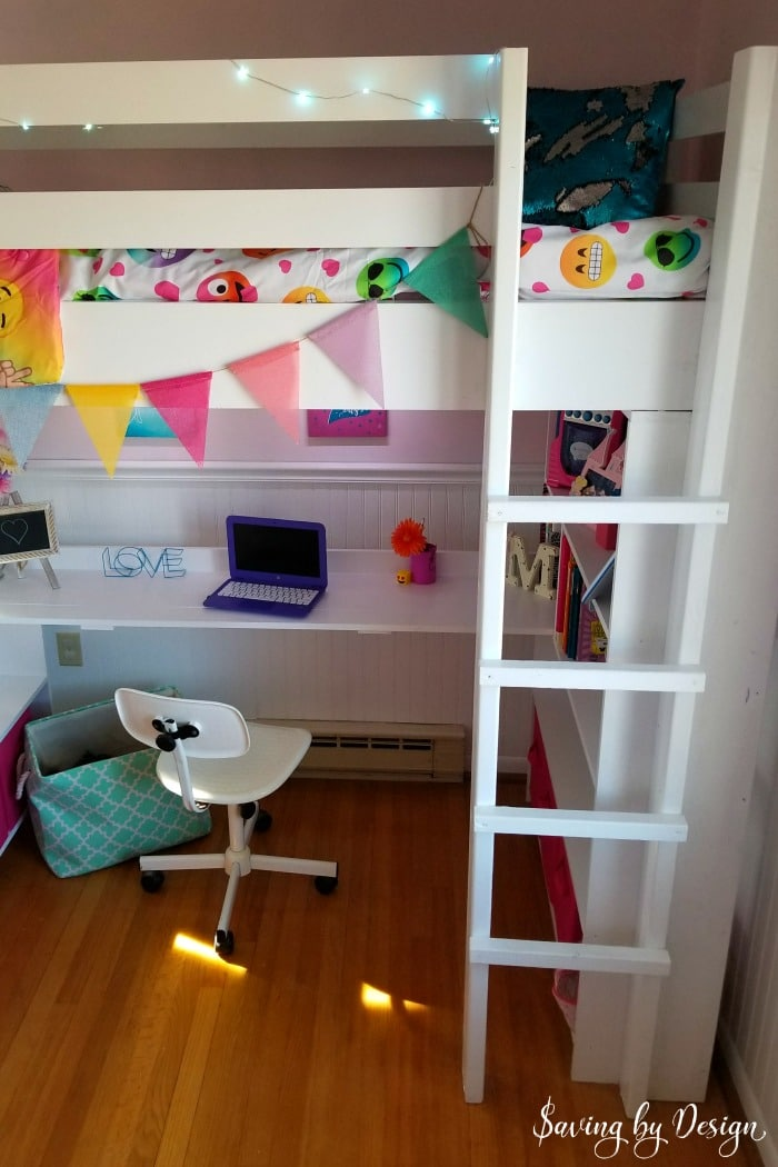 Top View Of Loft Bed With Desk And Storage