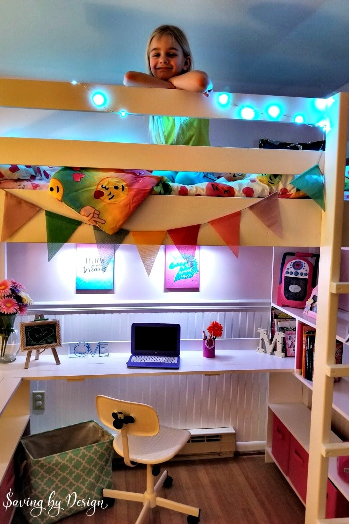 loft bed with desk at night