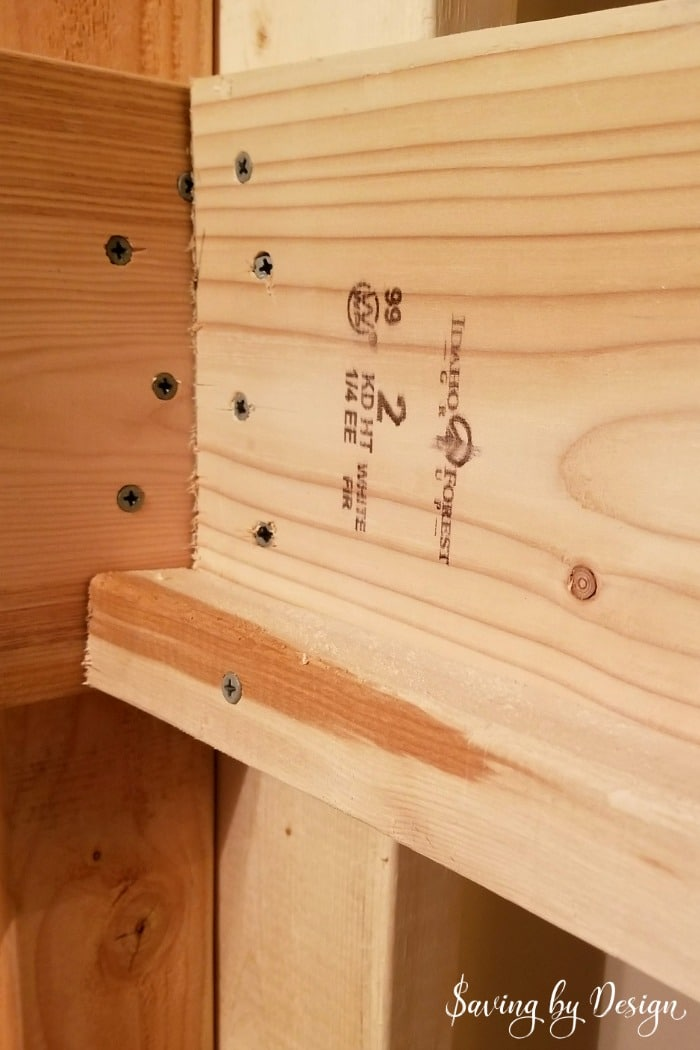 furring strip attached to loft bed frame