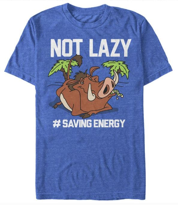 "Disney shirts for men - Pumba ""Not lazy #saving energy"""