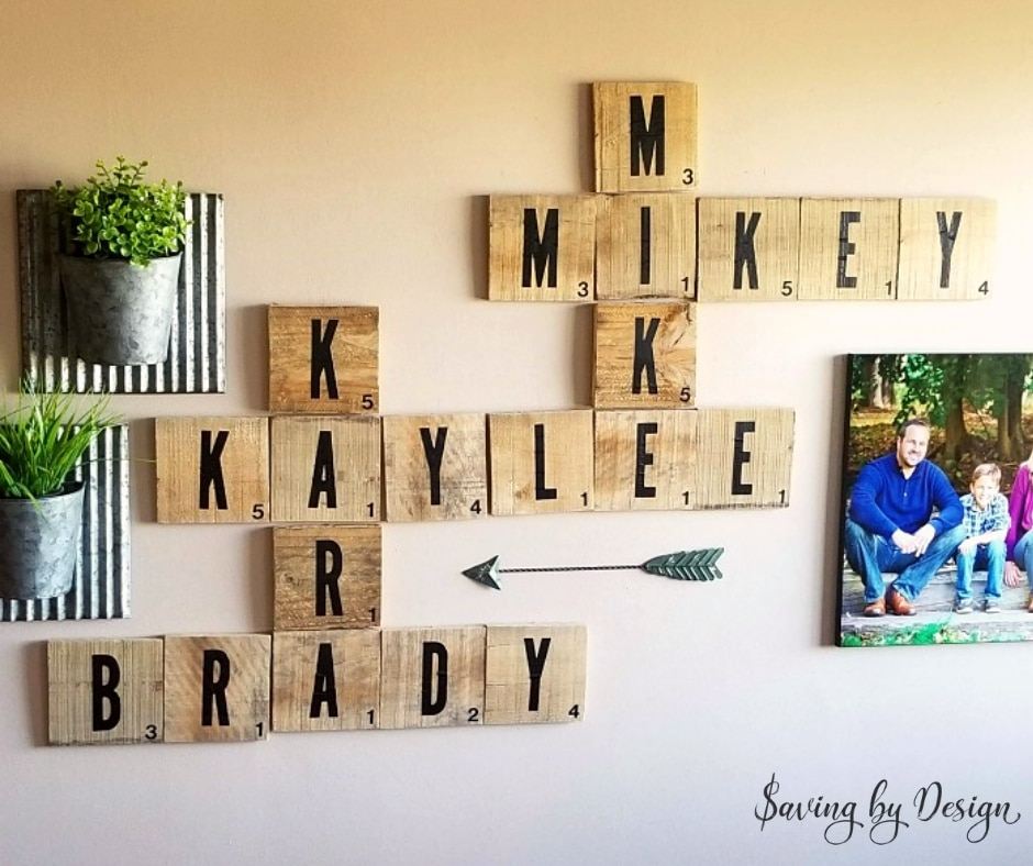 scrabble wall tiles - rustic wall decor