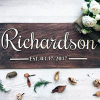 gallery wall ideas - family name sign