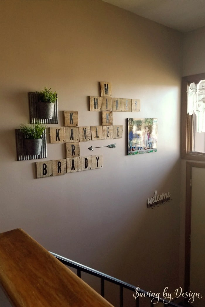 how to decorate a large wall - oversized scrabble tiles